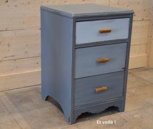 Meuble 3 tiroirs gris dégradé, vue gauche