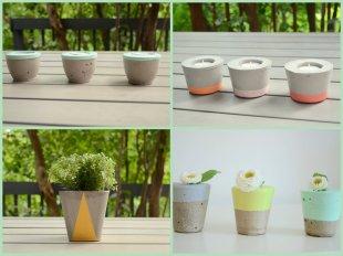 Bougeoirs chandelles photophore beton ciment - et voila atelier