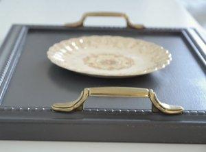 Plateau cuisine gris poignees vintage grey coffee tray - etvoilaatelier