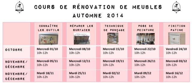 Calendrier cours de rénovation de meubles nov-dec 2014 par et voila atelier