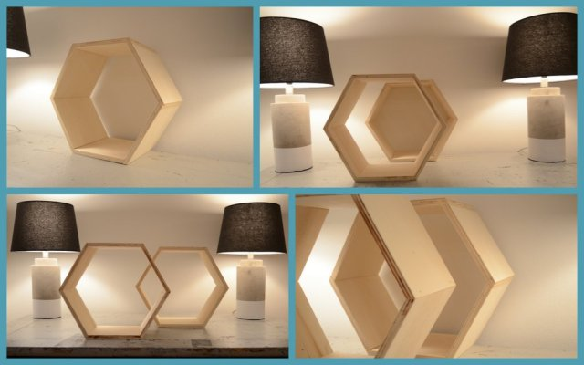 Etagères alvéoles hexagonales par Et voilà Atelier