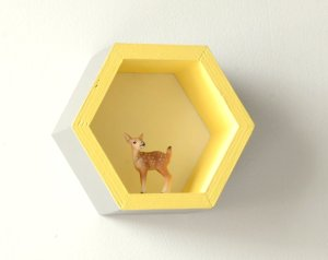 Mini étagère Hexagonale alvéole gris et jaune - Et voilà Atelier